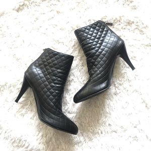 Shoes - Quilted Leather Ankle Boots